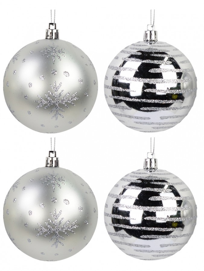 Silver Gloss & Matte Baubles With Glitter Lines & Snowflakes Print - 8 x 80mm