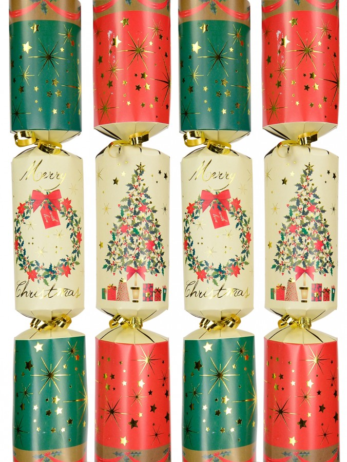 Red With Tree & Green With Wreath Bon Bons - 40cm x 6 Pack