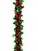 Red Ribbon Look & Green Holly Leaf Christmas Tinsel Garland - 2.7m