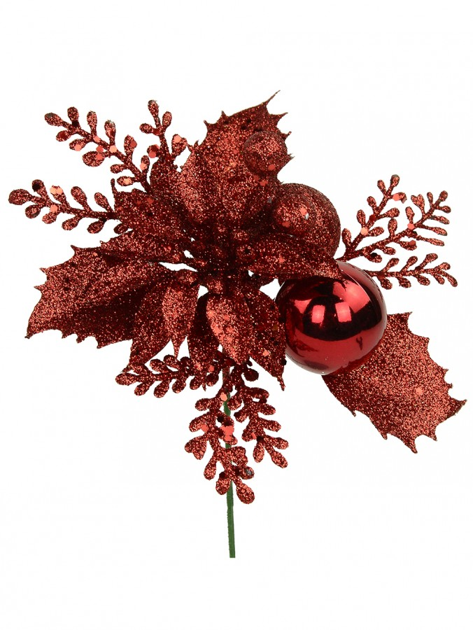 Red Glittered Decorative Poinsettia & Holly Leaf Floral Pick - 15cm
