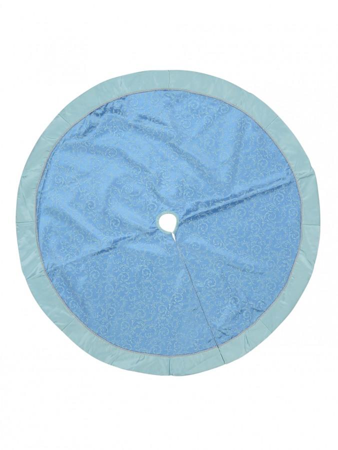 Blue & Silver Filigree Pattern With Border Christmas Tree Skirt - 1.2m