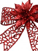 Red Glittered Mesh Look Ribbon Bow Decoration With Poinsettia - 15cm