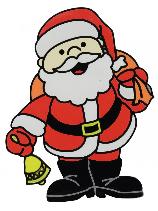 Santa With Bell & Gift Sack Gel Window Cling Christmas Decoration - 17cm