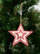 Natural & Red Layered Wood Star Christmas Tree Hanging Decoration - 15cm