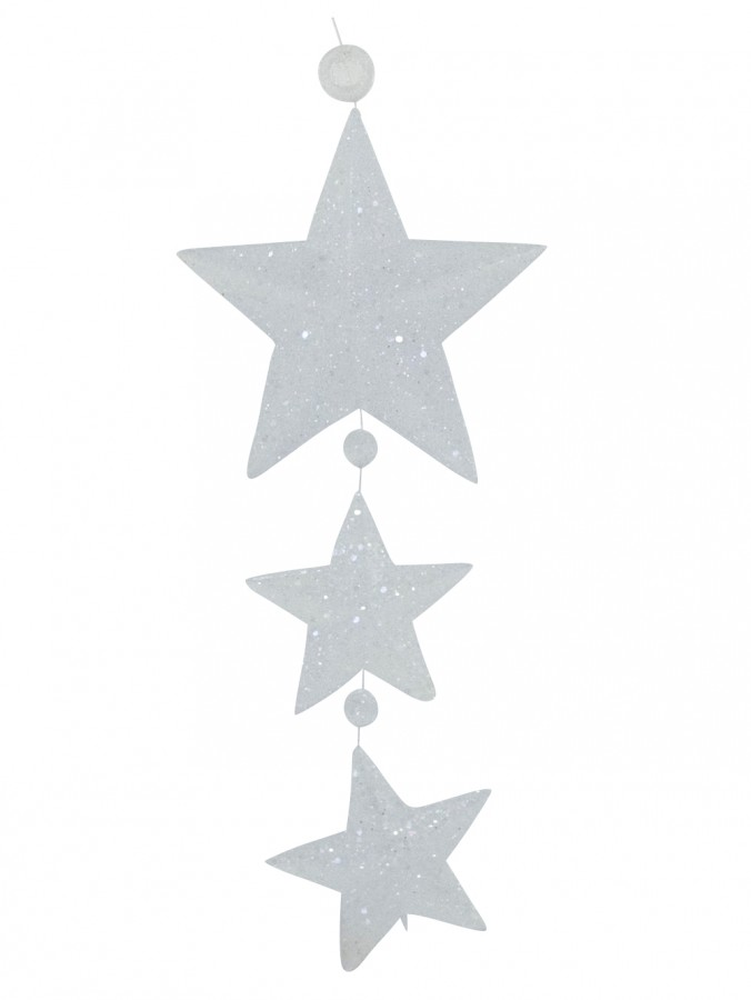 Glittered Frosted Tri Star Hanging Decoration - 15cm