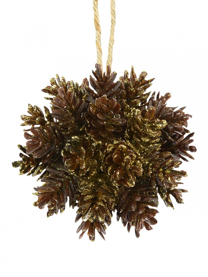 Natural Look Pinecone Bunch with Gold Glitter Hanging Ornament - 10cm