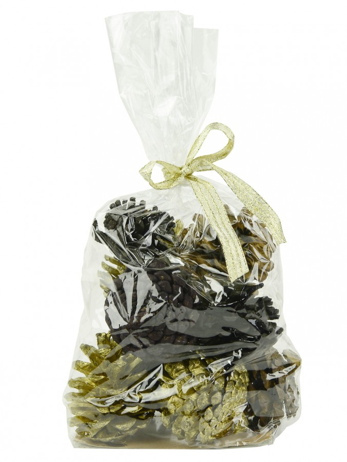 Bag Of Decorative Natural & Gold Pine Cones - 300g