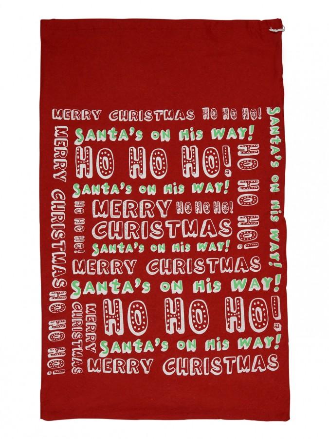 Red Felt Christmas Text Santa Sack - 80cm