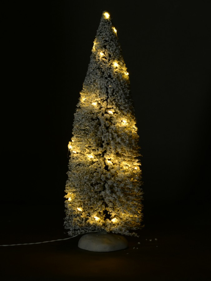 Illuminated Flocked White Snow Pine Tree Christmas Village Figurine - 31cm