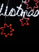 Merry Christmas With Red Southern Cross LED Rope Light Silhouette - 98cm