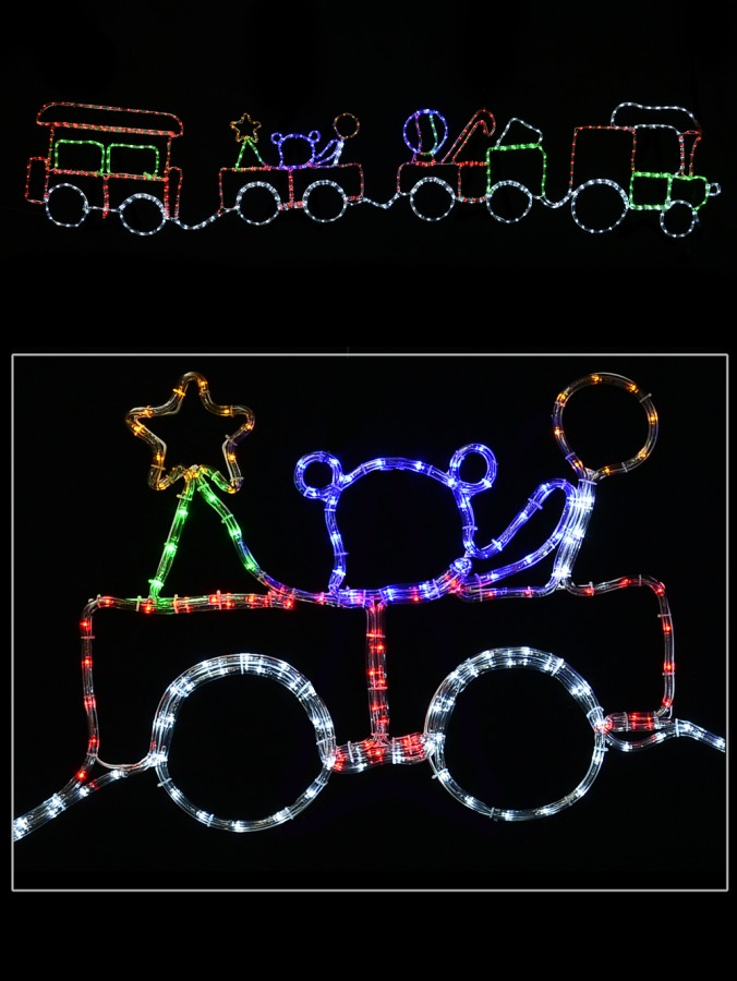 Christmas 2D Rope Light Silhouette Train With 3 Carriages - 2.8m
