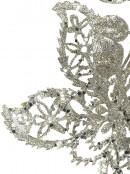 Silver Filigree Glittered Decorative Poinsettia Floral Pick - 15cm