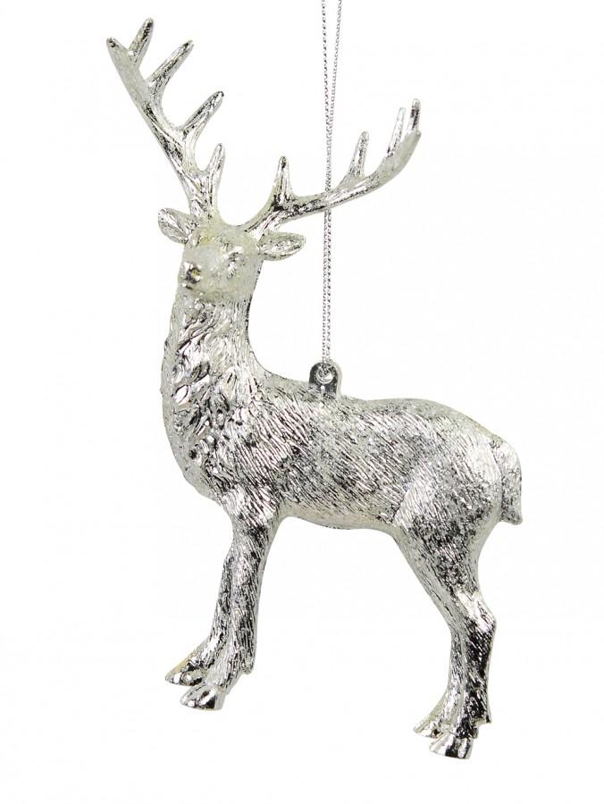Silver Deer Hanging Ornament - 14cm