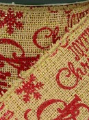 Natural Edged & Fabric Look With Red Font Christmas Ribbon - 3m