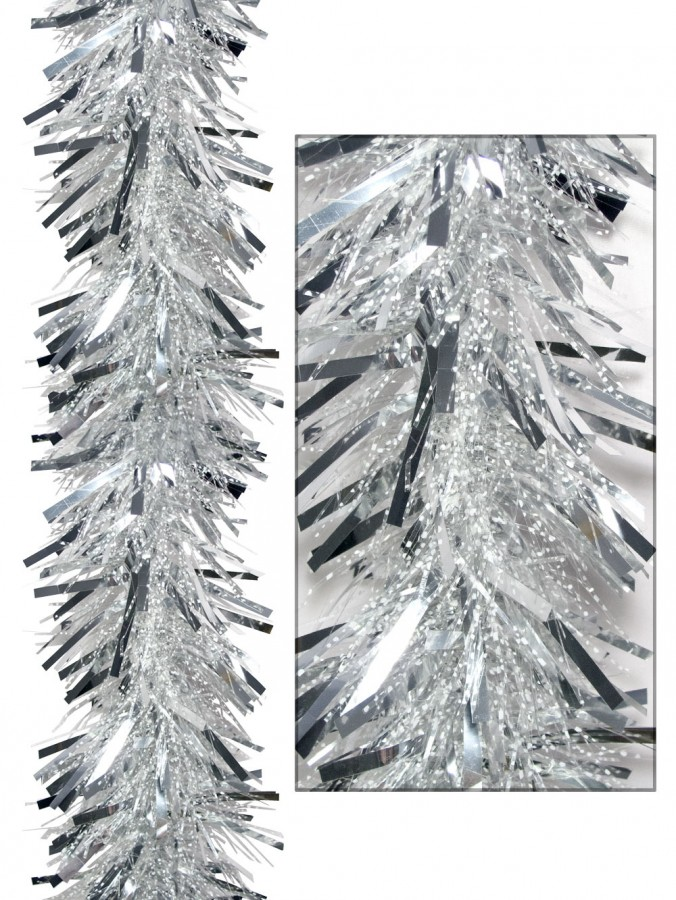 Thick Metallic Silver & Thin Transparent Tinsel Garland - 2.7m