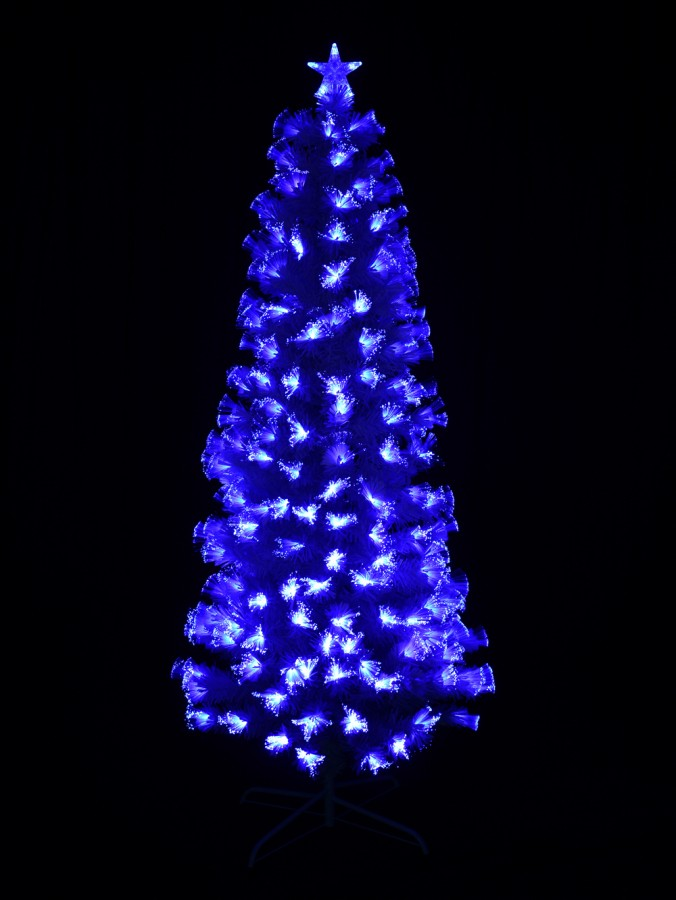 Blue & Cool White LED White Fibre Optic Christmas Tree - 90cm