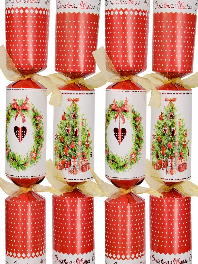Red & White With Christmas Tree & With Wreath Bon Bons - 40cm x 6 Pack