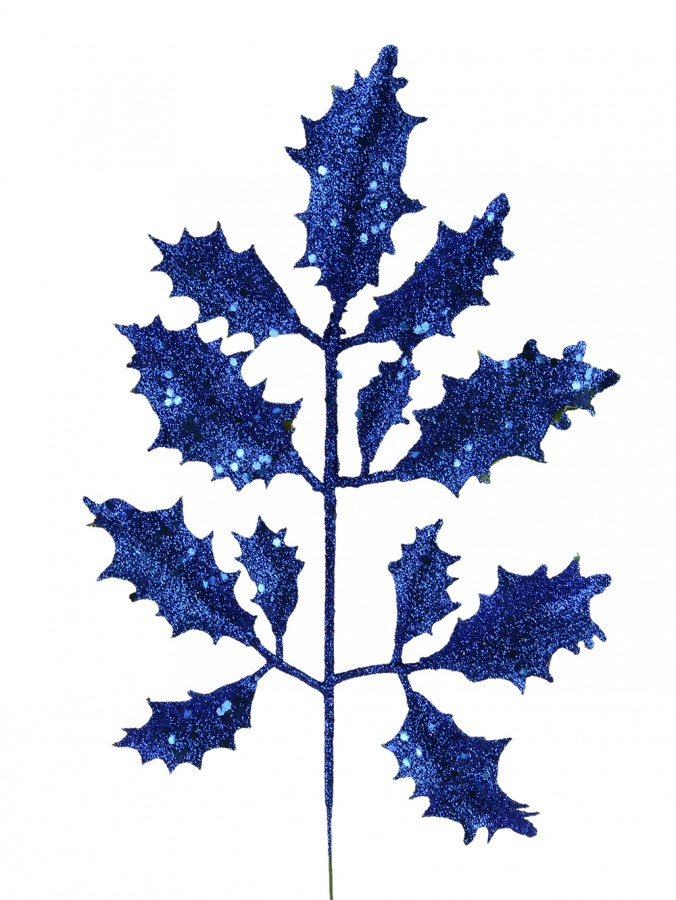 Blue Glittered Holly Leaf Pick - 15cm