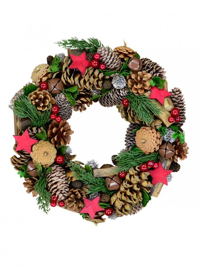 Natural Wreath With Pine Cones, Stars, Wood Chunks, Berries & Bells - 35cm