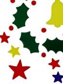 Holly Wreath, Bell & Stars Gel Window Cling Christmas Decoration - 23cm