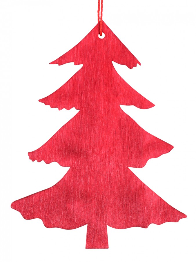 Red Natural Wood 2D Tree Hanging Decoration - 10cm