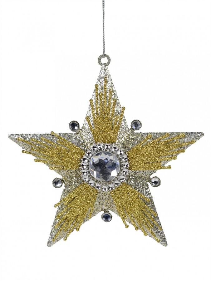 Silver Star Hanging Ornament With Glitter & Diamante Embellishments - 13cm