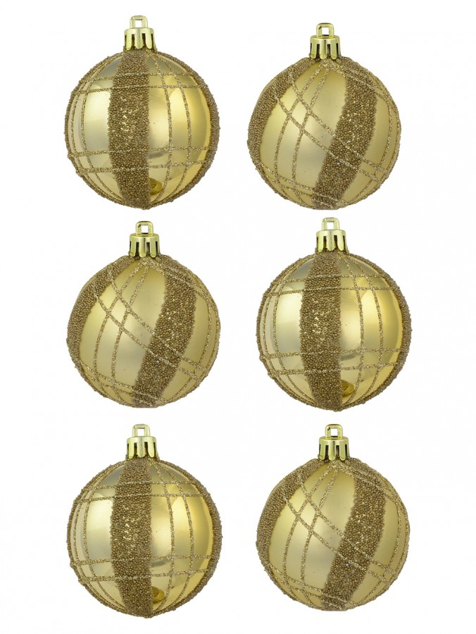 Matte Gold with Gold Sprinkle & Glitter Detail Baubles - 6 x 60mm