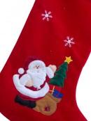 Large Red Velvet Stocking With Santa & Tree - 74cm