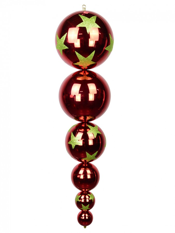 Metallic Ruby Red With Lime Green Stars Large Finial Display Decoration - 1m