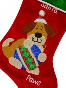 Red Velvet Santa Paws Christmas Stocking With Dog Embroidery - 40cm