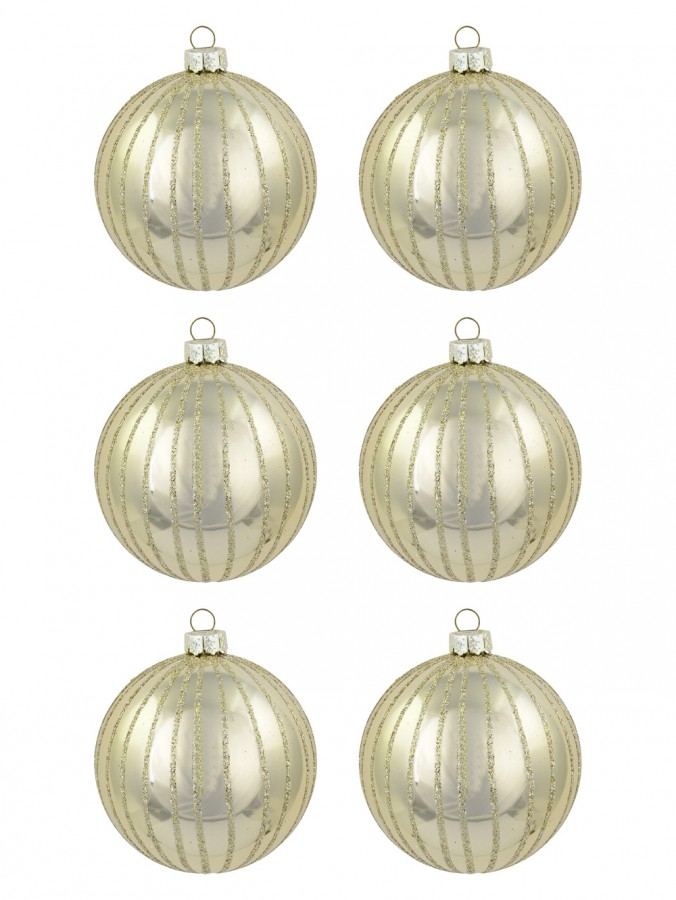 Metallic Ivory Baubles With Ivory Glitter Lines - 6 x 60mm