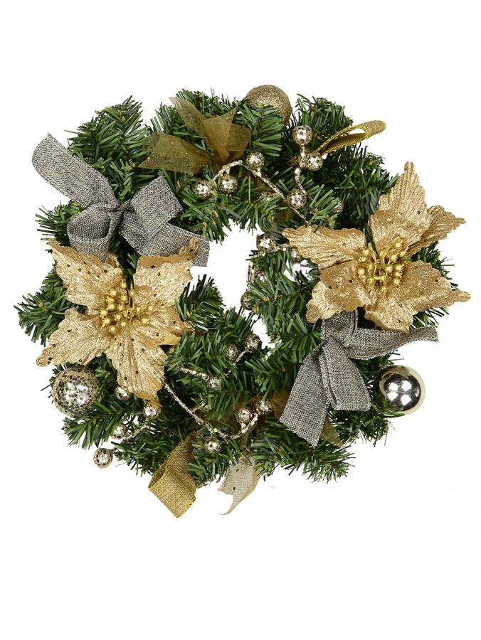 Pre-Decorated Gold & Champagne Poinsettia & Pine Wreath - 30cm