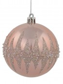 Pink & Mint Green Baubles With Silver Glitter & Frost Bits - 4 x 80mm