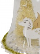 Clear Bell with Gold Trees & Unicorn Christmas Tree Hanging Decoration - 12cm