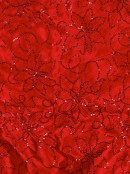 Red Organza With Red Velvet Trim & Silver Cord Christmas Tree Skirt - 1.2m