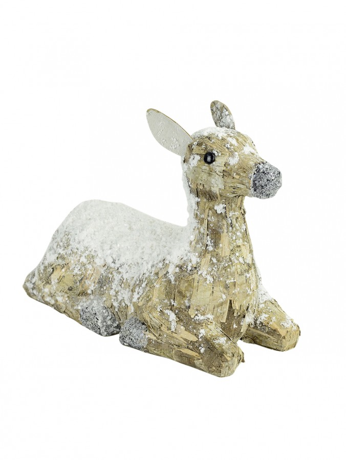 Large Sitting Snow-Flecked Paper Mache Reindeer - 42cm