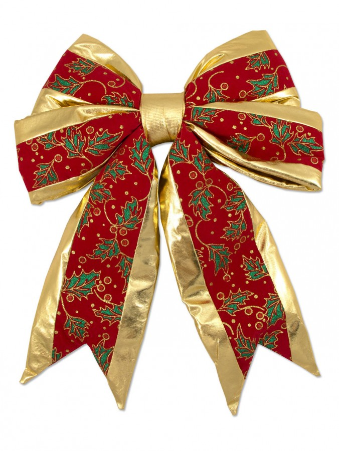 Large Red Velvet Bow Decoration With Gold Stripe - 45cm