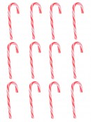 Traditional Red & White Candy Cane Decoration Lollies - 12 pack