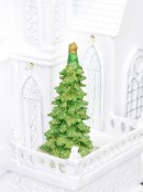 White Church With Revolving Christmas Tree - 37cm