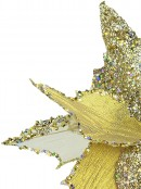 3 Style Luxe Gold & Champagne Leaf Decorative Poinsettia Floral Pick - 21cm