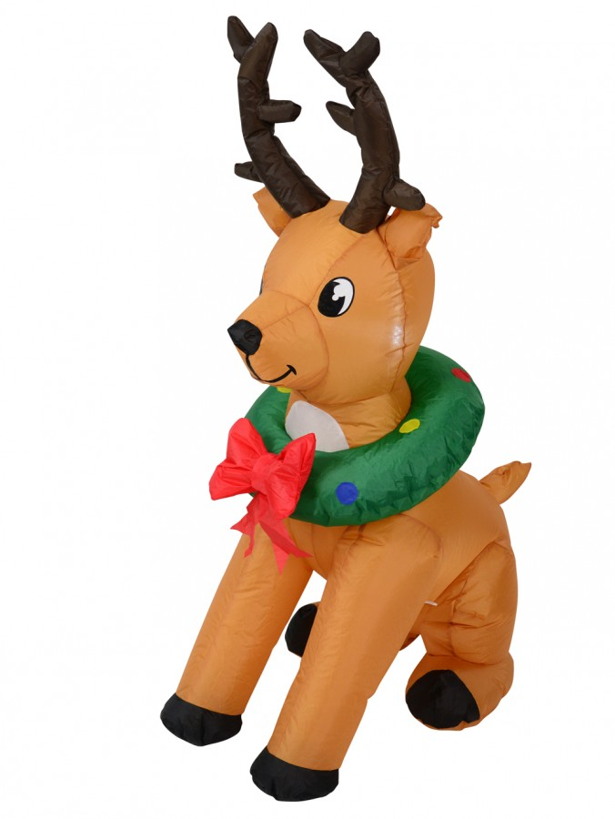 Sitting Buck Deer With Wreath Around His Neck Illuminated Inflatable  - 1.2m