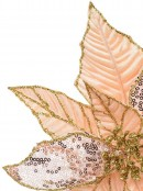 Three Style Peach Pink With Gold Glitter Decorative Poinsettia Floral Pick - 28cm
