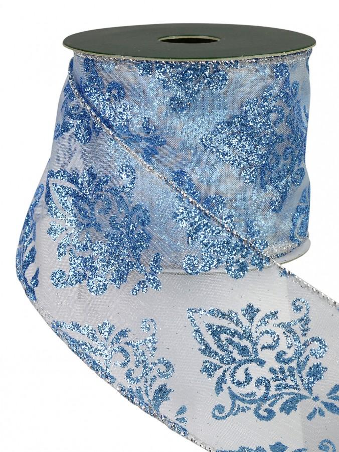 Blue, Silver & White Fluer De Lis Design Ribbon - 3m