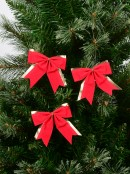 Red Felt With Gold Trim Christmas Bow Decorations - 6 x 90mm