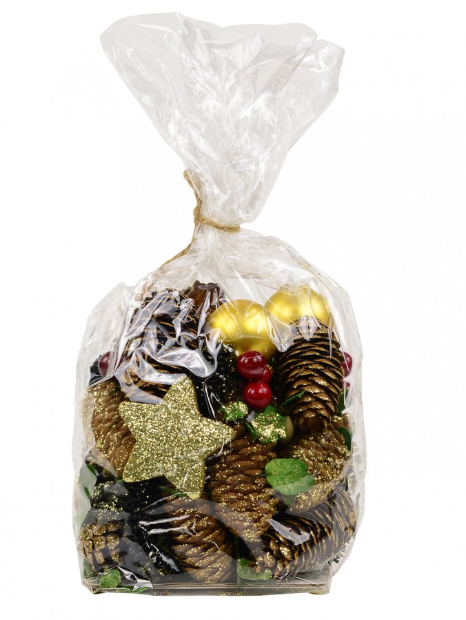 Bag Of Assorted Decorative Pine Cones, Berries & Leaves - 300g
