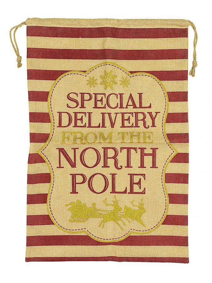 Striped Jute Santa Sack ' Special Delivery From The North Pole ' - 75cm