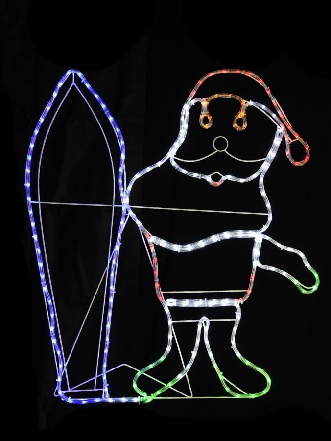 Aussie Santa With Surfboard LED Rope Light Silhouette - 1m