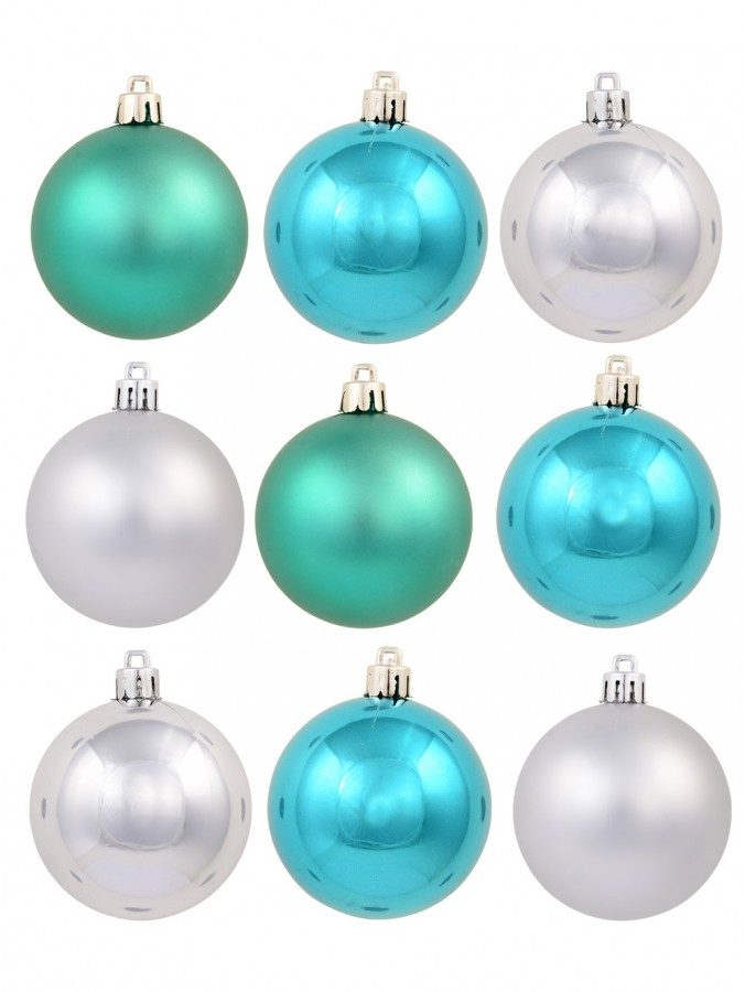 Turquoise & Silver Matte & Shiny Baubles - 12 x 60mm