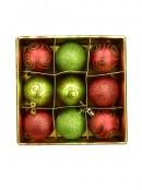 Red & Green Glitter, Matt & Glitter Swirls Baubles - 9 x 60mm