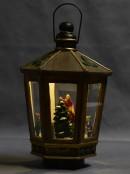 Animated, Musical & Illuminated Brushed Gold Lantern With Scene Inside - 28cm